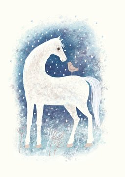 Digital aquarelle. Horse and bird in winter snowy landscape