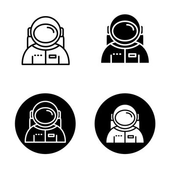 Set of astronaut vector illustration with simple black and white design. Astronaut icon