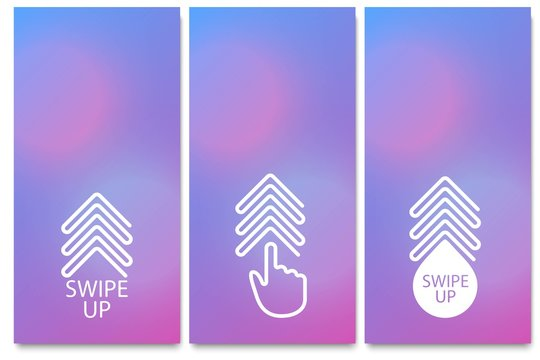 Swipe up, set of buttons for ui screen social media. Arrow web icon for advertising and marketing in social media application. Scroll or swipe up. Simple linear gradient design