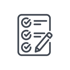Checklist line icon. Report with pencil vector outline sign.