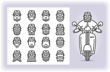 Redactable picture of person with mustache and beard wearing a helmet that riding by scooter and set of sixteen replaceable icons of that driver heads isolated on white. Emoji and avatars.