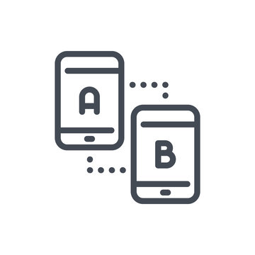 Smartphone synchronization and comparison line icon. Two mobile phones with A and B matching vector outline sign.