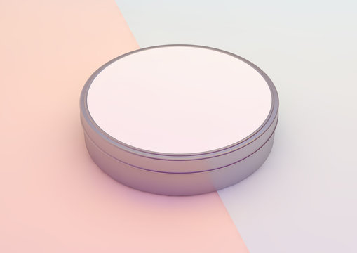 round box on pink and blue background