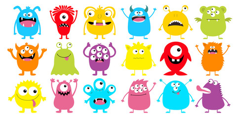 Monster colorful silhouette super big icon set. Happy Halloween. Eyes, tongue, tooth fang, hands up. Cute cartoon kawaii scary funny baby character. Flat design. White background.