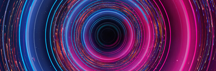 Photo sur Plexiglas Spirale Abstract neon background with light circles, geometric shapes made of neon. Abstract light, scene, purple, pink, blue neon, portal. Futuristic neon background, neon circle.