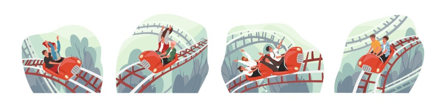 People ride roller coaster flat vector illustrations set. Friends and colleagues cartoon characters. Amusement park visitors having fun. Emotional, thrilling experience, active recreation concept.