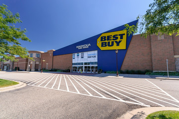 ST. PAUL, MINNESOTA, USA - August 18, 2011, The Best Buy store in St. Paul, Minnesota on sunny day. Best Buy is a major retail chain that sells all kinds of consumer electronics products.