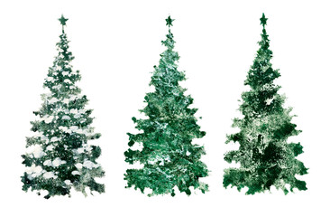 Set of green Christmas trees, silhouettes of trees, elements for needlework and design.