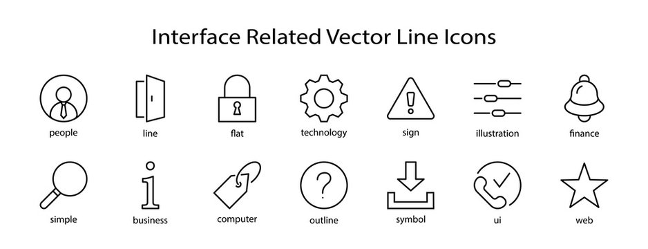 Set of Interface Related Vector Line Icons. Contains such Icons as User, Search, Info, Star, Bell, Door, Settings, Lock, Alert, Gear and more. Editable Stroke. 32x32 Pixel Perfect