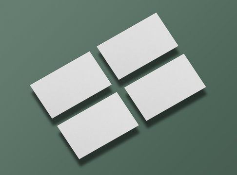 Mock up of blank business cards on green background. Template for corporate identity. Empty objects to place your design. 3D illustration.