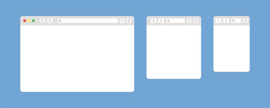 Browser window isolated vector web elements. Design template with browser window for mobile device design. Blank template. Website template design. Mockup for web site design.