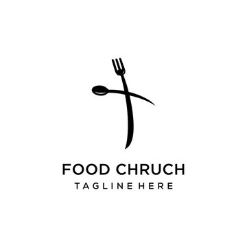 Church logo sign modern vector graphic abstract fork spoon sign