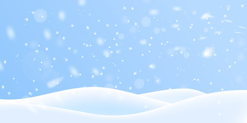 Wall Murals Blue sky Winter snow background on blue backdrop. Magic white snowfall texture. Vector 3d illustration.