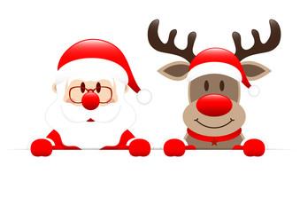 Weihnachtsmann Und Rentier Horizontales Banner