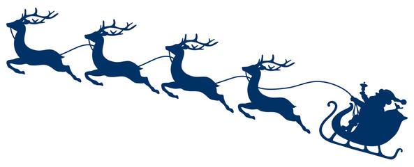 Wall Mural - Dunkelblauer Weihnachtsschlitten Santa Und Vier Fliegende Rentiere