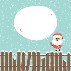 Wall Mural - Weihnachtsmann Auf Zaun Sprechblase Türkis