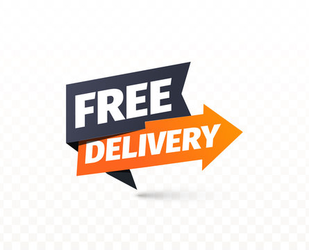 Free delivery vector icon. Shipping pointer. Sticker of cargo services on transparent background