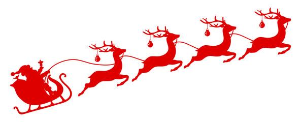Wall Mural - Roter Weihnachtsschlitten Santa Und Vier Fliegende Rentiere Kugeln