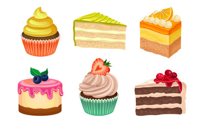 Yummy Sweet Desserts Vector Illustration Set Isolated On White Background