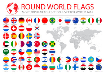 World flags vector collection. 36 high quality clean round icons. Correct color scheme