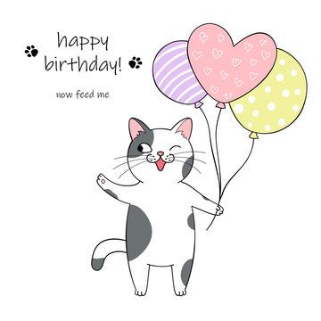 Cute cartoon cat holding balloons. Hand drawn illustration for birthday greeting card