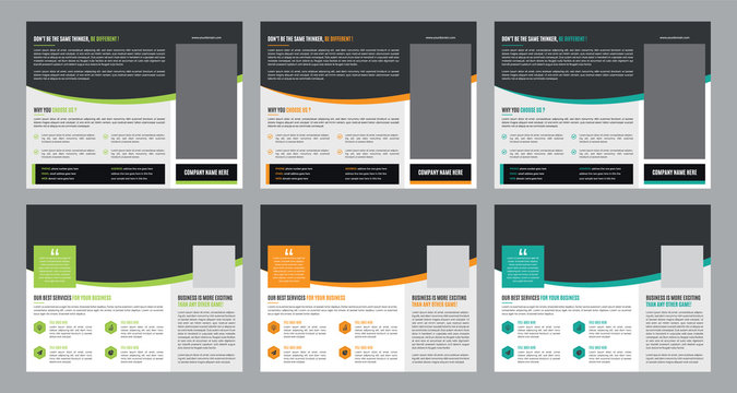 Trifold Business vector template. Brochure design, cover modern layout, annual report, poster, flyer in A4 with colorful shapes for tech, science, market with light background