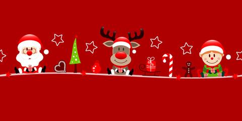 Wall Mural - Banner Santa Rentier Und Elf Weihnachten Icons Rot