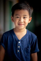 portrait smiling face of asian children  standing with relaxing emotion