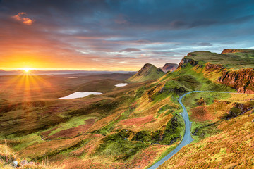 Wall Mural - Beautiful Autumn sunrise over the Quiraing
