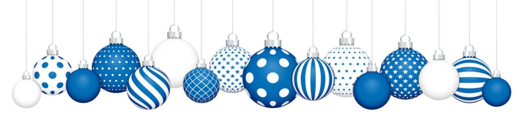 Banner Hängende Weihnachtskugeln Muster Blue Weiß Silber
