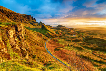Beautiful sunrise over the Quiraing on the Isle of Skye