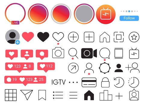 Instagram.Instagram. Mobile ui social media icon. Stories user button, live streaming, symbol, sign logo. vector illustration.