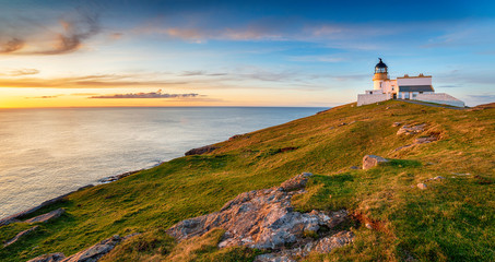 Wall Mural - Sunset at Stoer head lighthouse in Scotland