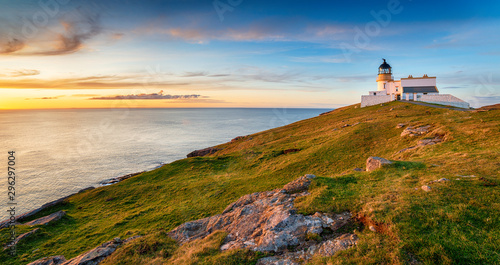 Wall mural Sunset at Stoer head lighthouse in Scotland