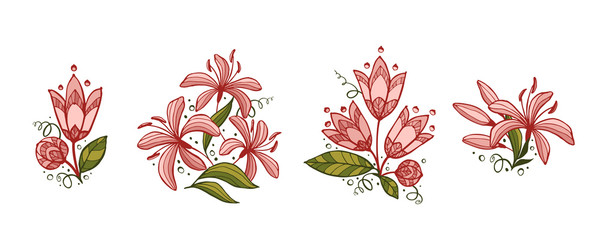 Set of floral compositions.