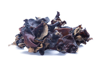 Dried chinese black fungus. Jelly ear  isolated