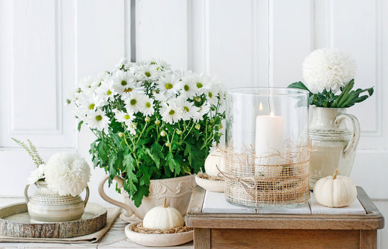 Natural, simple home decoration whit chrysanthemum and dahlia flowers