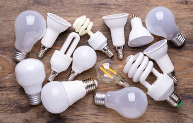 Different kinds of light bulbs on wooden background