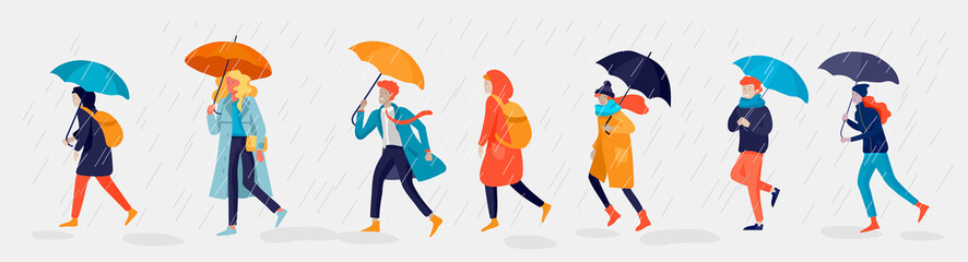 Various stylish people character go on street under umbrellas in warm clothes. Autumn rainy weather. Colored trendy cartoon