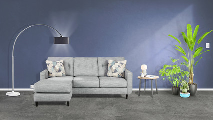 Modern  interior with sofa,table, lamp and plants 3d illustration