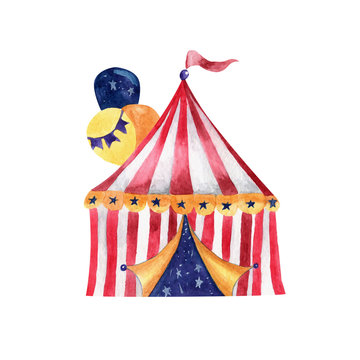 Circus tent watercolor illustration on white background isolated object