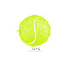Vector illustration tennis ball isolated on white background. Hand drawing a ball. Design print for T-shirts, hand drawing. Element sports for the poster, banner, flyer.