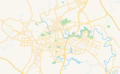 Printable street map of Zigong, China