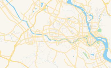 Printable street map of Mianyang, China