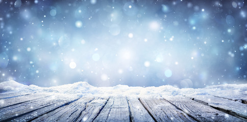 Winter Table - Snowy Plank With Snowfall In The Cold Sky Wall mural