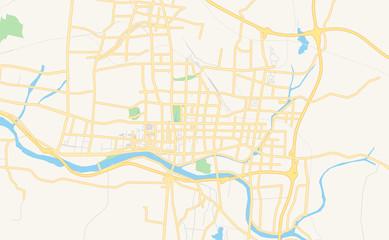 Printable street map of Laiwu, China