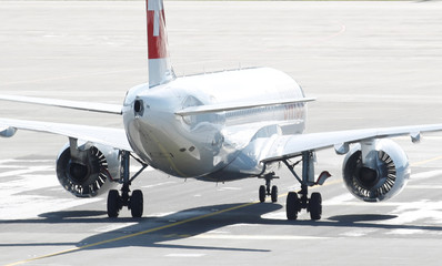 Airbus A220 jet of Swiss Airlines is seen at Zurich airport in Zurich