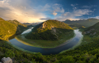 Printed roller blinds Forest river famous bend of the Rijeka Crnojevica river flowing into Lake Skadar in Montenegro