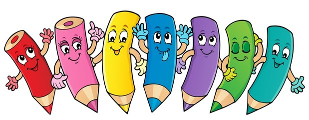 Poster For Kids Happy wooden crayons theme image 1