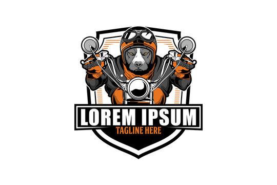 pitbull ride motorcycle vector badge logo template